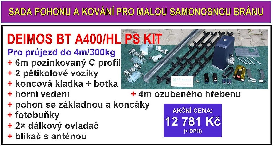 DEIMOS BT A400/HL PS KIT - sada automatizace a kování pro malou samonosnou bránu